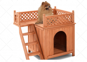 Wooden Dog House With Stairs